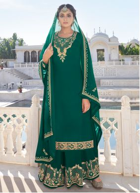Green Resham Faux Georgette Readymade Suit