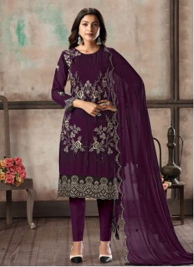 Resham Georgette Salwar Suit in Purple