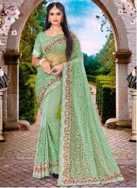Resham Green Net Designer Saree