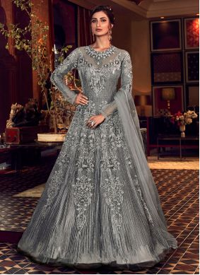 Resham Grey Net Trendy Long Length Anarkali Suit