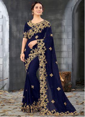 Blue Resham Mehndi Designer Saree