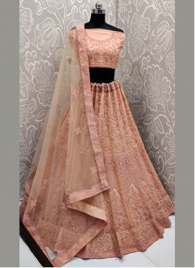 Resham Net Designer Lehenga Choli in Peach