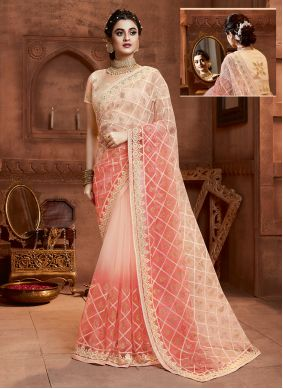 Resham Net Designer Saree in Cream and Peach