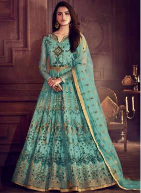 Resham Net Floor Length Anarkali Suit in Blue
