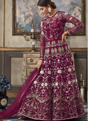 Resham Net Floor Length Anarkali Suit in Purple