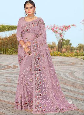 Resham Net Lavender Designer Saree