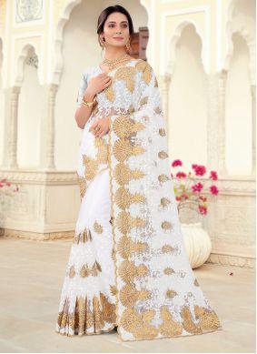 Resham Off White Classic Saree