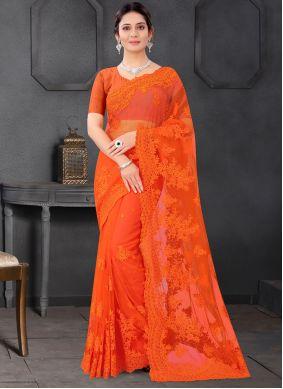 Resham Orange Trendy Saree