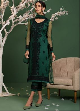 Green Resham Reception Pant Style Suit