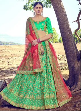 Resham Satin Silk A Line Lehenga Choli in Green