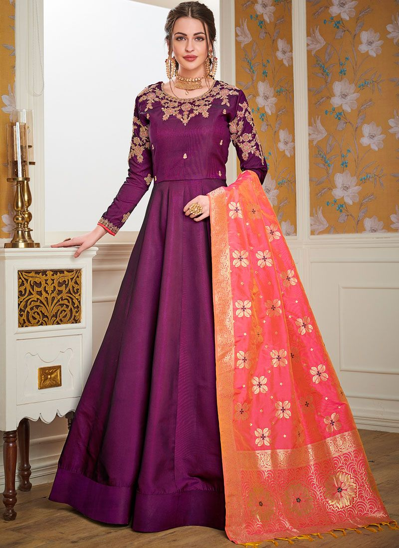 Resham Satin Silk Readymade Gown  in Purple