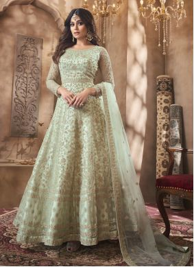 Resham Shamita Shetty Floor Length Anarkali Suit