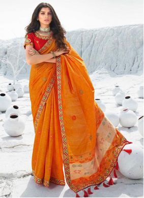 Resham Orange Traditional Saree