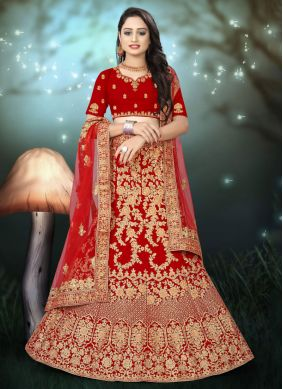 Resham Velvet A Line Lehenga Choli in Red