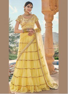 Resham Yellow Trendy Lehenga Choli