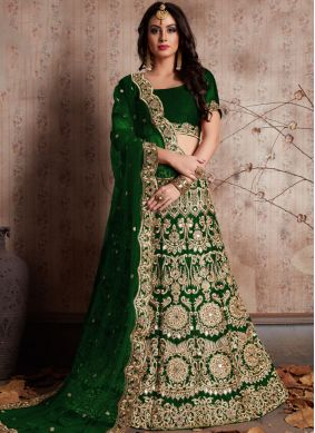Resplendent Velvet Green Embroidered Work Lehenga Choli