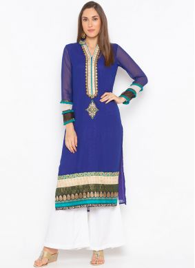 Riveting Embroidered Faux Georgette Party Wear Kurti