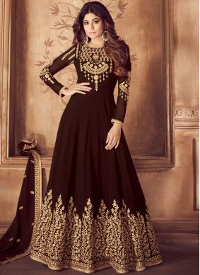Riveting Georgette Mehndi Anarkali Salwar Suit