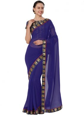 Riveting Lace Navy Blue Casual Saree