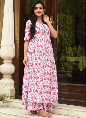 Riveting Pink and White Party Trendy Palazzo Suit