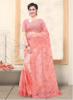 Rose Pink Embroidered Traditional Saree