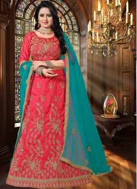 Rose Pink Mehndi Art Silk Lehenga Choli