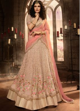 Rose Pink Net Embroidered Anarkali Salwar Suit