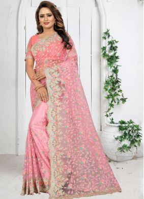 Rose Pink Net Festival Traditional Saree
