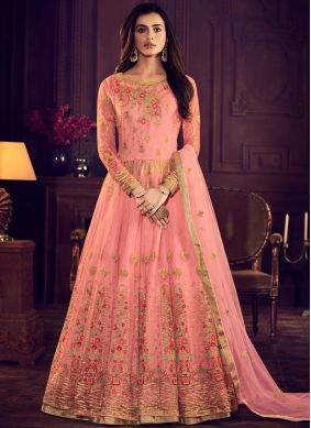 Rose Pink Net Floor Length Anarkali Suit