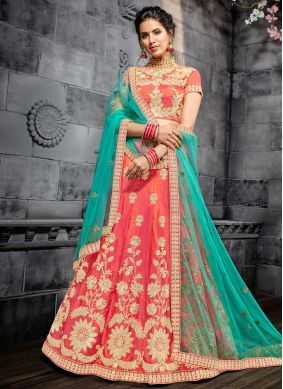 Rose Pink Resham Art Silk Lehenga Choli