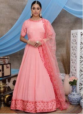 Rose Pink Thread Silk Trendy Gown