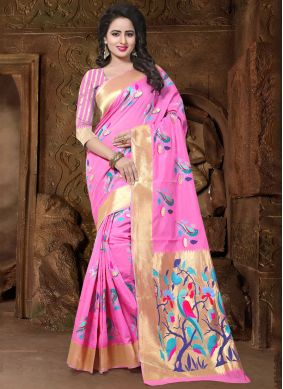 Rose Pink Traditional Saree