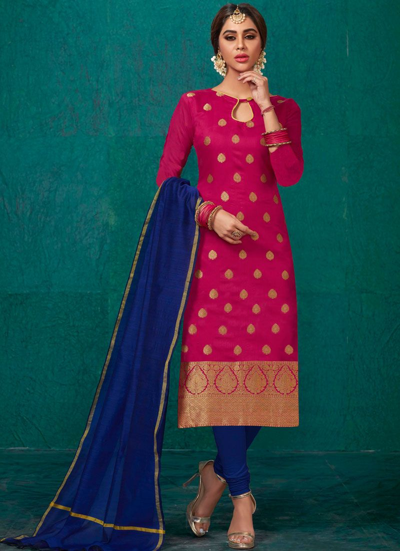 Rose Pink Weaving Ceremonial Churidar Salwar Suit