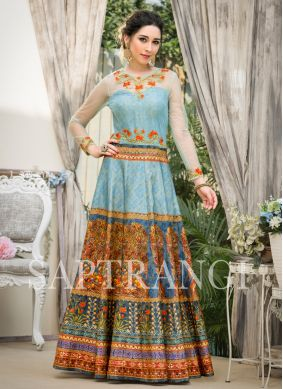 Royal Fancy Fabric Embroidered Designer Gown