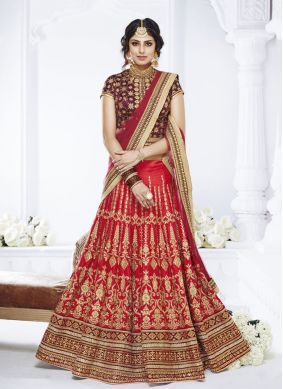 Royal Net Red Stone Designer Lehenga Choli