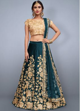 Royal Teal Resham Work Lehenga Choli
