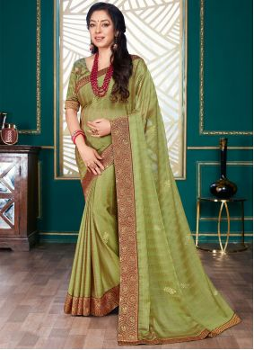 Rupali Ganguly Embroidered Green Designer Traditional Saree
