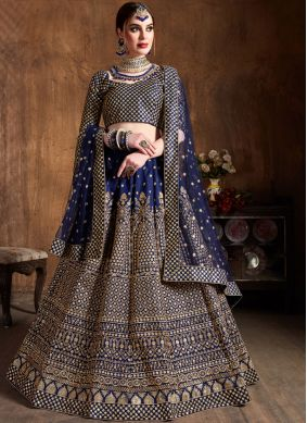 Ruritanian Lace Blue Raw Silk Lehenga Choli