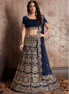 Ruritanian Navy Blue Embroidered Work Silk Lehenga Choli