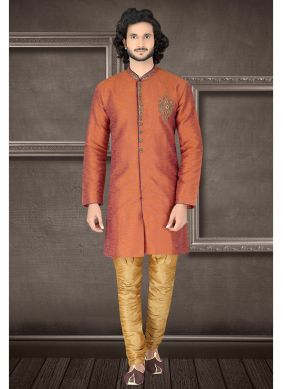 Rust Art Raw Silk Engagement Kurta Pyjama