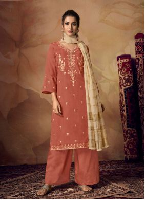 Rust Embroidered Muslin Designer Palazzo Suit