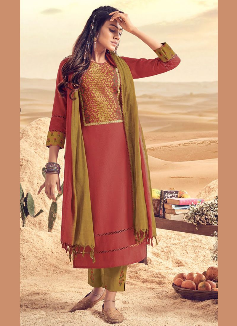 Rust Embroidered Polly Cotton Readymade Salwar Kameez