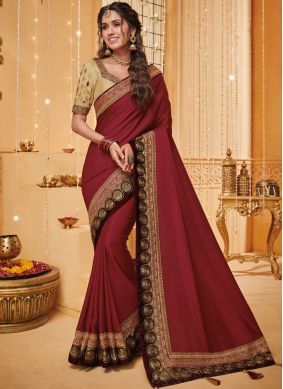 Rust Reception Fancy Fabric Traditional Saree