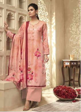 Salmon Embroidered Satin Silk Designer Palazzo Suit