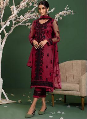 Salwar Kameez Resham Net in Pink