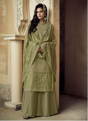Salwar Suit Embroidered Faux Georgette in Green