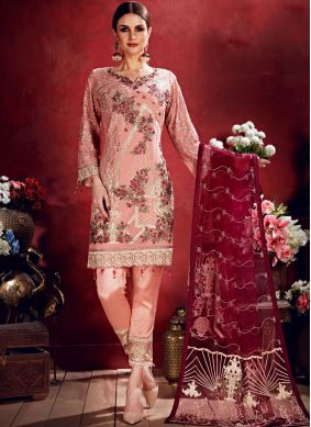 Salwar Suit Embroidered Georgette in Pink