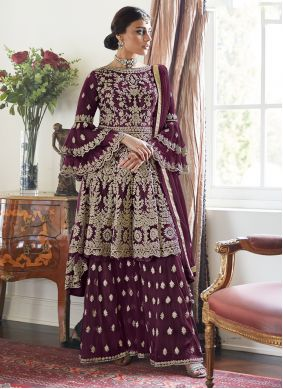 Salwar Suit Embroidered Net in Purple