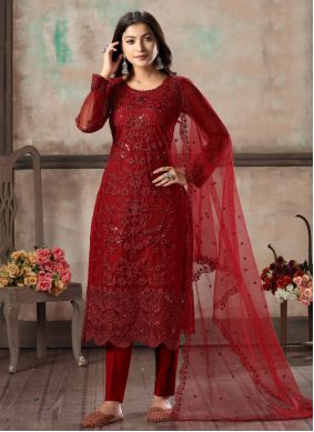 Salwar Suit Embroidered Net in Red
