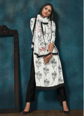 Salwar Suit Print Chinon in White